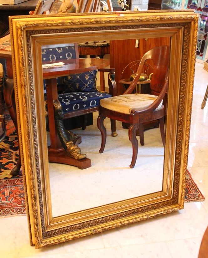 Grand Miroir Bois Et Stuc Doré Style Empire 19ème