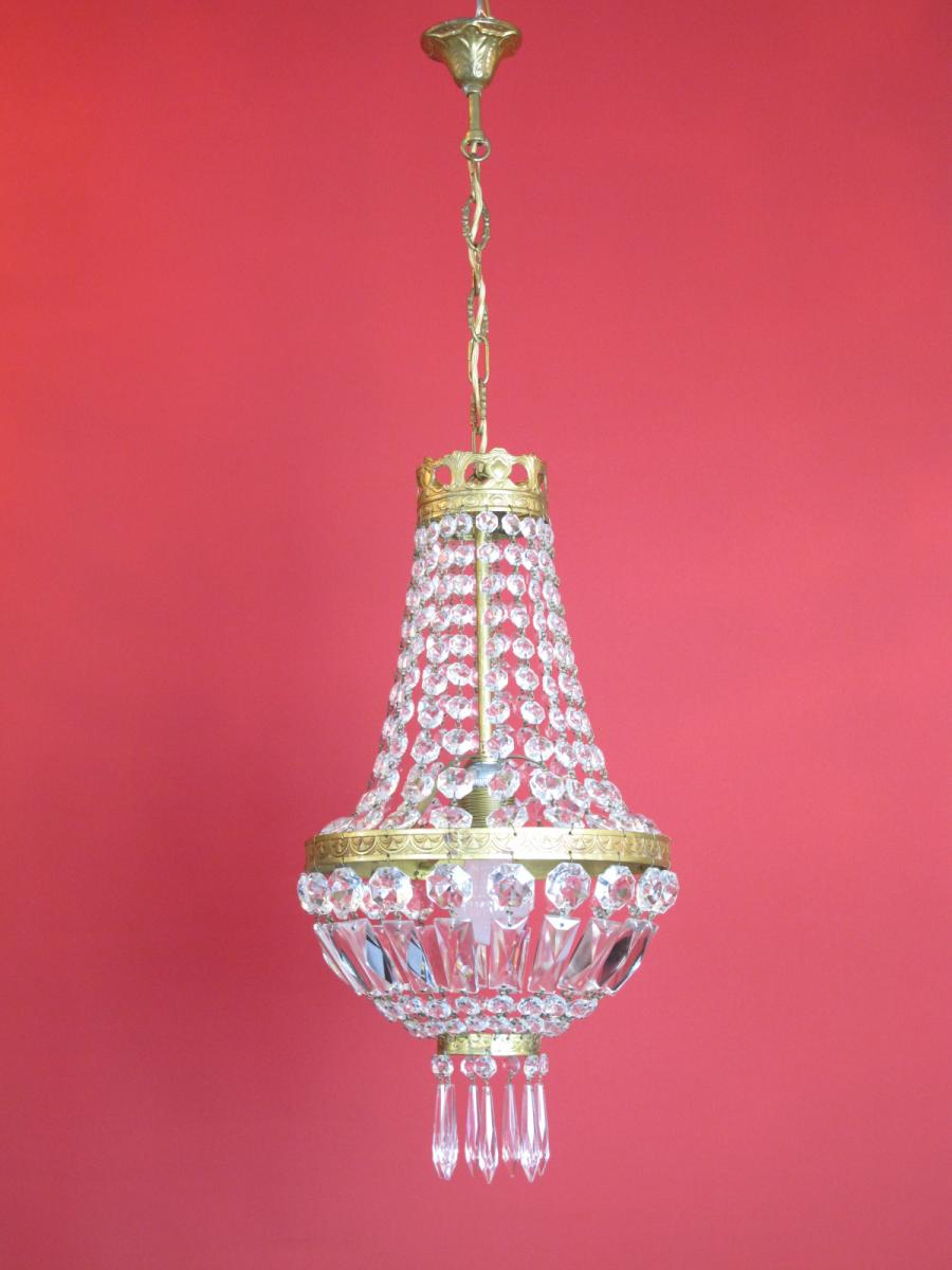 Lustre Montgolfiere à Pampilles Style Napoleon III