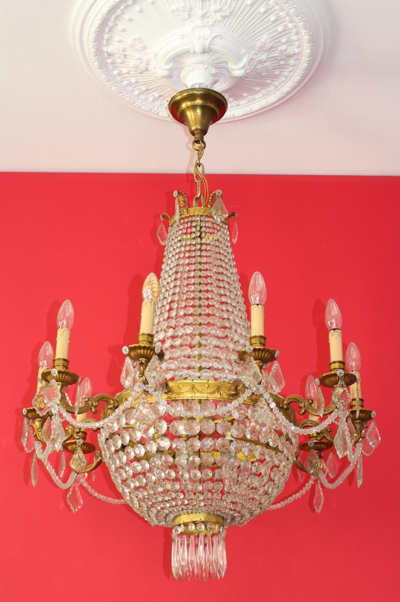 Grand Lustre Corbeille Montgolfiere à Pampilles Style Louis XVI