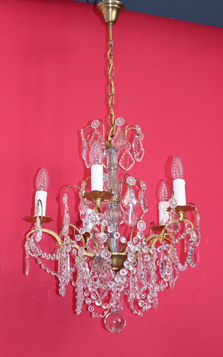 Lustre Cage En Bronze 5 Feux Avec Cristal Style Louis XVI
