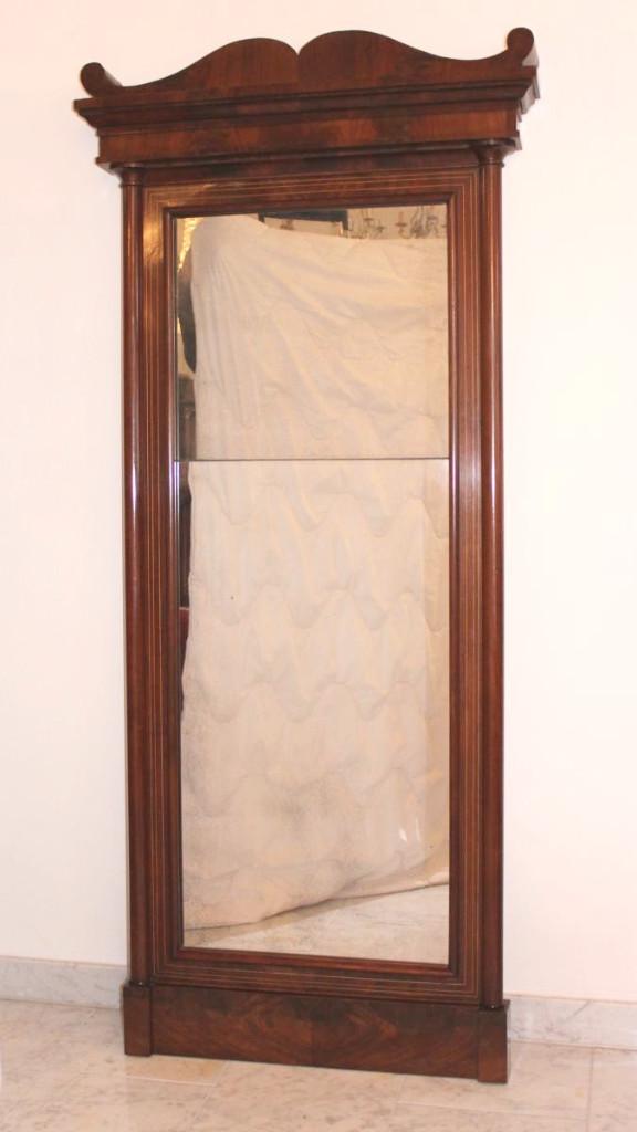 Grand Miroir En Acajou Biedermeier Allemagne