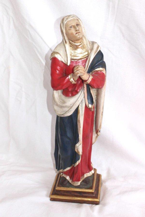 Vierge Dolorosa Mère De Douleur En Bois 59cm Sculpté Polychrome 19ème