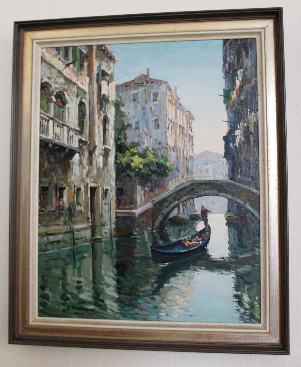 Canal à Venice Avec Gondolier - C. Padovani – Venezia Ca 1950