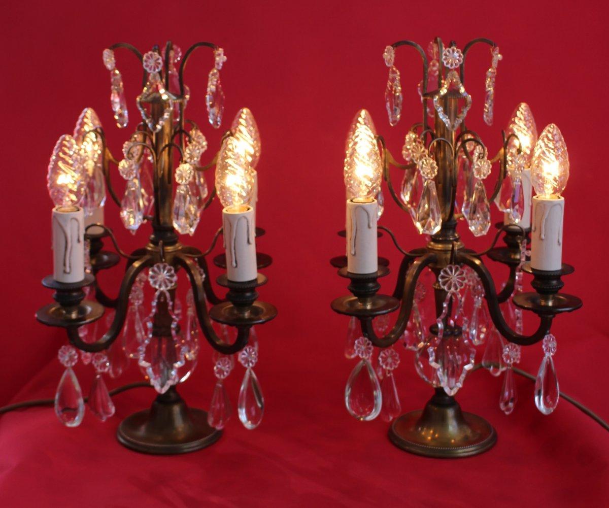 Paire De Girandoles De Style Louis XVI En Bronze Electrification Remise à Neuf