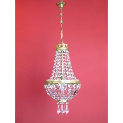 Lustre Corbeille Montgolfiere à Pampilles Style Napoleon III