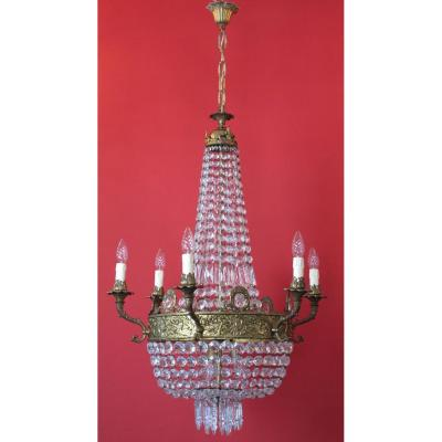 Large Chandelier Basket Balloon 6 Arms 20th