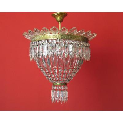 Chandelier Basket Bronze And Leaves Glass Louis XVI Style