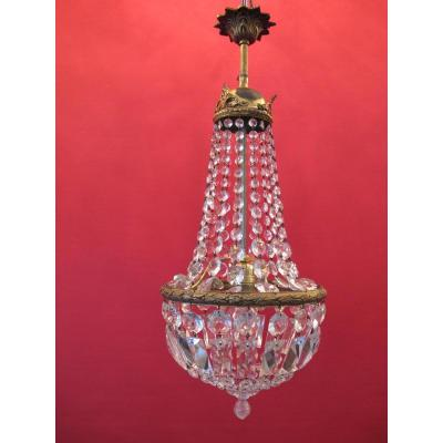Lustre Montgolfiere à Pampilles Et Bronze Style Napoleon III