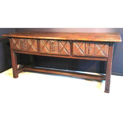 Large Spanish Refectory Table 3 Drawers 16th