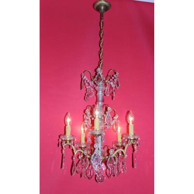 Chandelier Cage Bronze 5 Lights And With Crystal Louis XVI Style
