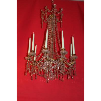 Large Chandelier Cage Bronze 9 Lights And Crystal 19th