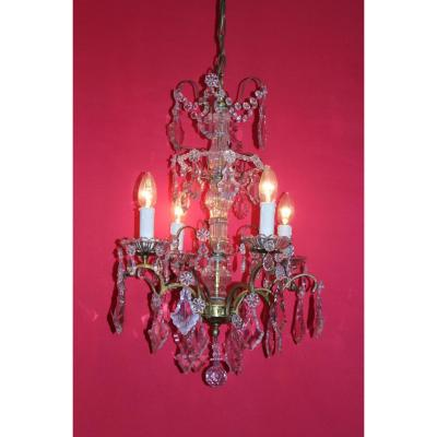 Chandelier Cage Bronze 4 Lights With Crystal Louis XVI Style