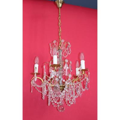 Chandelier Cage Bronze 5 Lights With Crystal Louis XVI Style