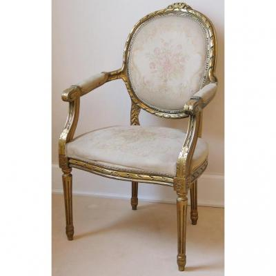 Louis XVI Gold Lacquered Armchair