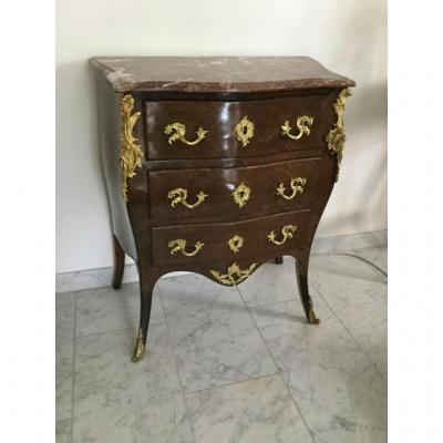 Small Commode Sauteuse Marquetry Louis XV Style
