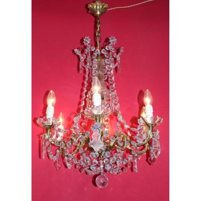Gilt Bronze Cage Chandelier 6 Lights And Pampilles Louis XVI Style