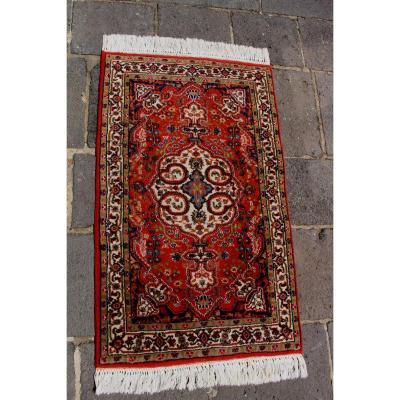 Tapis Ancien Persan De Laine Indo Tabriz Iran 75 X 126cm