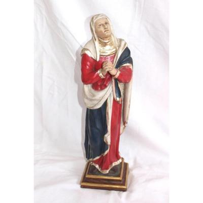 Virgin Dolorosa Mother Of Pain Wood 59cm Carved Polychrome 19th