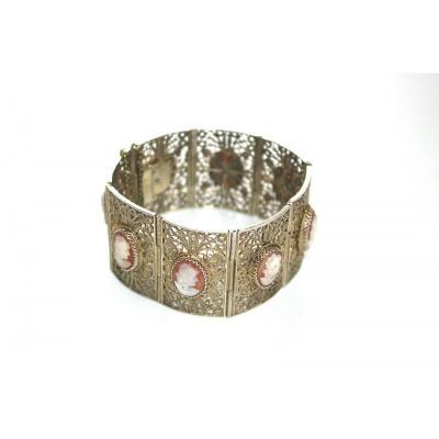 Bracelet Large En Argent 800 Avec 8 Camees Vers 1900