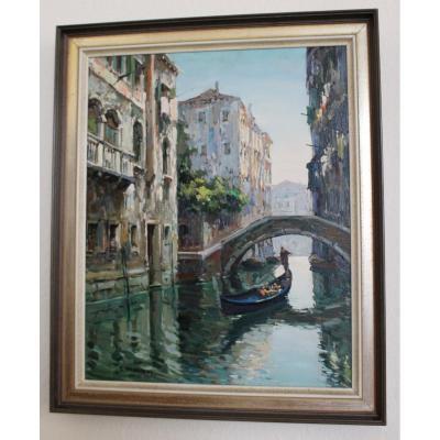 Canal In Venice With Gondolier - C. Padovani - Venezia Ca 1950