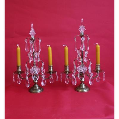Pair Of Girandoles With Two Arms, Napoleon III Style With Tassels