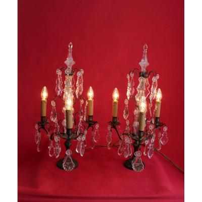 Large Pair Of Girandoles With Three Arms Pendants Electrification Refurbished