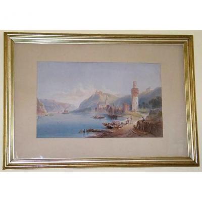 Watercolor Oberwesel Thomas Charles Leeson Rowbotham 1862