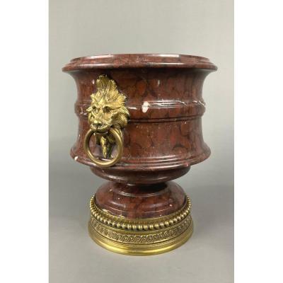 Cache Pot In Red Morello Marble Mufles De Lions 19th