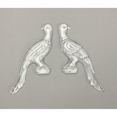 Paire Perroquets En Verre Pour Des Lustres Italiennes – Appliques 19ième