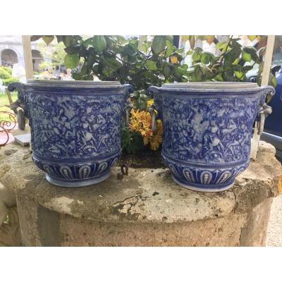 Pair Of Stoneware Cache Pots