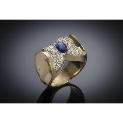 French Ring Circa 1940 Natural Sapphire And Diamond