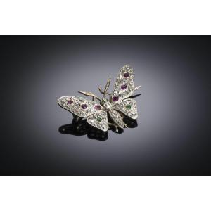 Butterfly Brooch Late 19th Century With Diamonds, Emeralds, Rubies