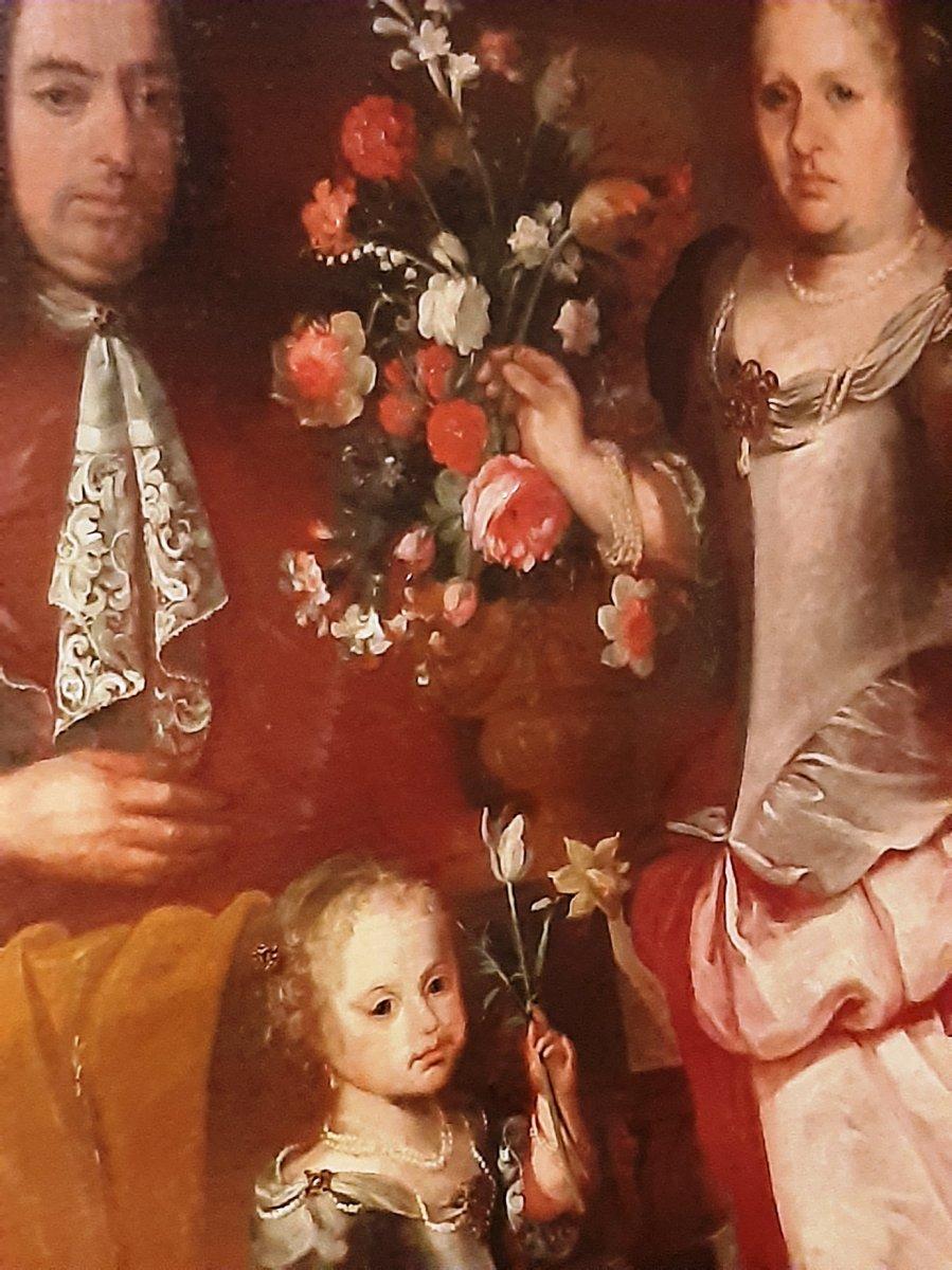 Grand tableau portrait flamand antique d'Une Famille Noble  Et Vase Avec Des Fleurs