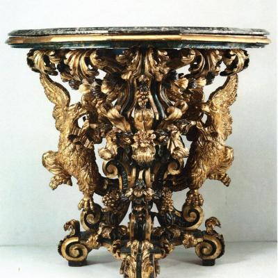 Antique  Baroque Console In Golden And Lacquered Wood