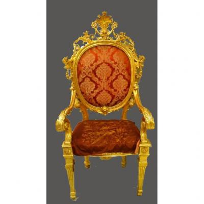 Ancient Noble Throne In Golden Wood
