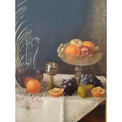 "Oil Painting On Canvas Representative  ""still Life With Fruits"""