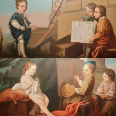Pair Of Neoclassical Paintings, Representing The Allegories Of The Arts,