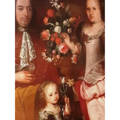 Large Antique Flemish Painting  Portrait Of A Noble Family And Vase With Flowers