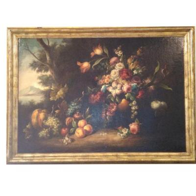 Old Painting Still Life With Flowers And Fruit