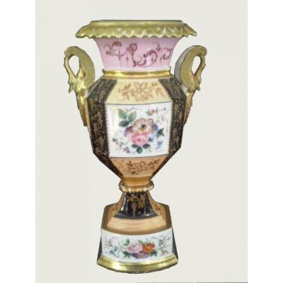 Vase En Porcelaine   Décoré De Fleurs