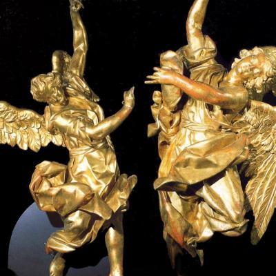 Paire de grandes  de Sculptures Vénitiennes d'Exception En Bois Doré