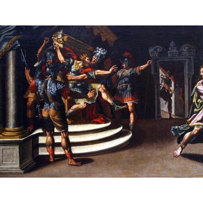 """Ancienne tableau scène historique  avec"""" Roi Saul et David"""""""