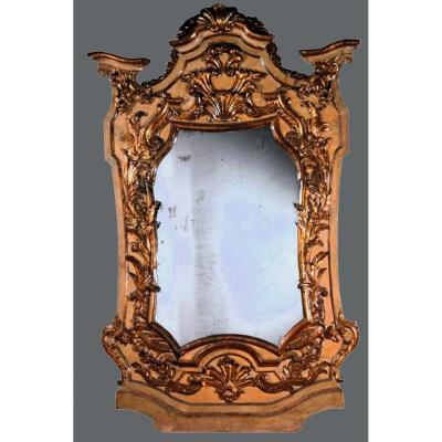 Antique And Imposing Baroque Mirror Louis XIV