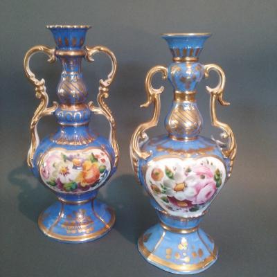 Vases Antiques En Porcelaine De Paris 19ème Siècle