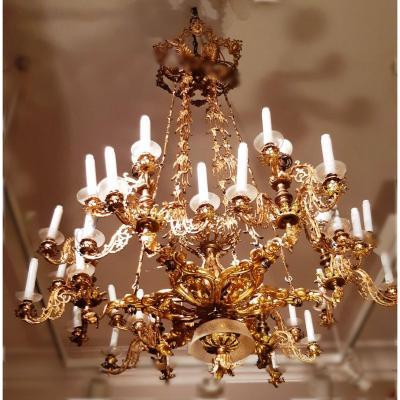 Lustre Ancien De Style Empire En Bronze Doré de 36 lumières