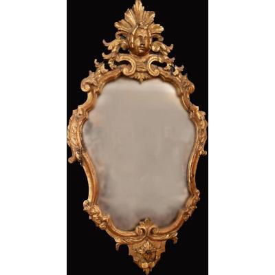 Miroir Ancien De Style Louis XV En Bois Doré