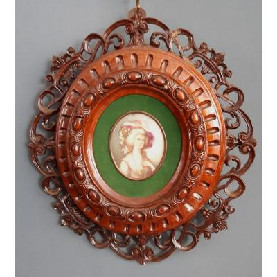 Old English Miniature On Ivory With Wooden Frame