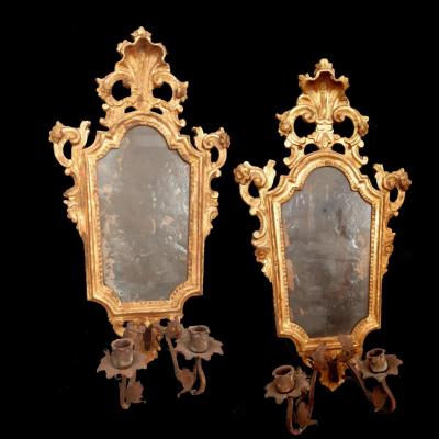Pair Of Venetian Mirrors In Golden Wood With Wall Light From The 18th