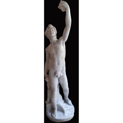 Italian Neoclassical Sculpture In White Carrara Marble