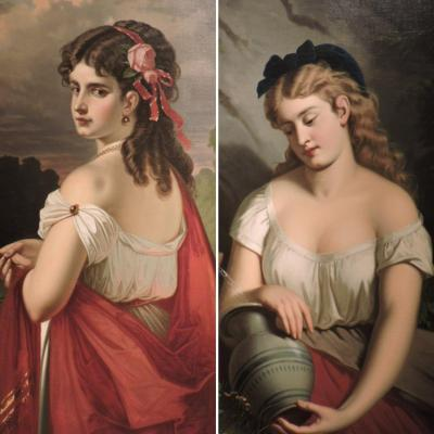Old Pair Of Painted Portraits Of Young Girls